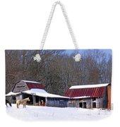 Barns And Horses In Winter Weekender Tote Bag