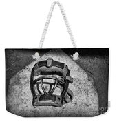 Baseball Catchers Mask Vintage In Black And White Weekender Tote Bag