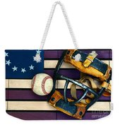 Baseball Catchers Mask Vintage On American Flag Weekender Tote Bag