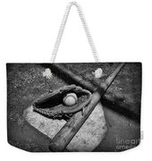 Baseball Home Plate In Black And White Weekender Tote Bag by Paul Ward