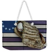 Baseball Mitt On American Flag Folk Art Weekender Tote Bag