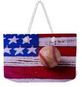 Baseball On American Flag Weekender Tote Bag