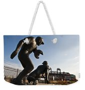 Baseball Statue At Citizens Bank Park Weekender Tote Bag by Bill Cannon