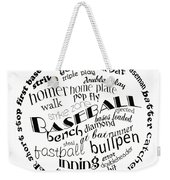 Baseball Terms Typography Black And White Weekender Tote Bag