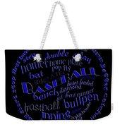 Baseball Terms Typography Blue On Black Weekender Tote Bag