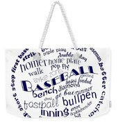 Baseball Terms Typography Blue On White Weekender Tote Bag