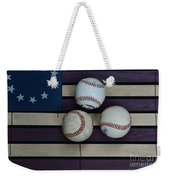 Baseballs On American Flag Folkart Weekender Tote Bag