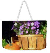Basket Of Asters With Pumpkin And Gourd Weekender Tote Bag