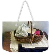 Basket With Cloth And Measuring Tape Weekender Tote Bag
