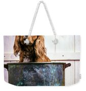 Bath Time - King Charles Spaniel Weekender Tote Bag by Edward Fielding