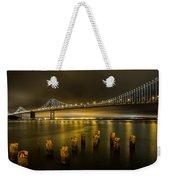 Bay Bridge And Clouds At Night Weekender Tote Bag