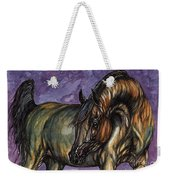 Bay Horse On The Purple Background Weekender Tote Bag