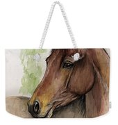 Bay Horse Portrait Watercolor Painting 02 2013 A Weekender Tote Bag