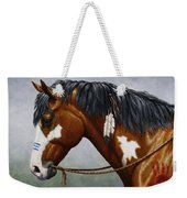 Bay Native American War Horse Weekender Tote Bag by Crista Forest