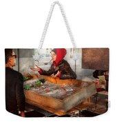 Bazaar - I Sell Fish  Weekender Tote Bag by Mike Savad