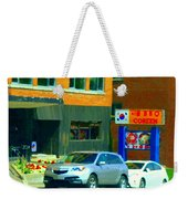 Bbq Coreen Korean Resto Cavendish St Jacques Montreal Summer Cafe City Scene Carole Spandau Weekender Tote Bag