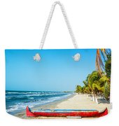 Beach And Red Canoe Weekender Tote Bag