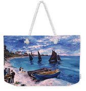 Beach At Sainte Adresse Monet Weekender Tote Bag