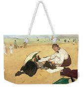 Beach Scene Little Girl Having Her Hair Combed By Her Nanny Weekender Tote Bag by Edgar Degas