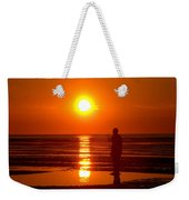 Beach Sculpture At Crosby Liverpool Uk Weekender Tote Bag
