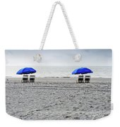 Beach Umbrellas On A Cloudy Day Weekender Tote Bag by Thomas Marchessault