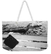 Beachside Warning Horizontal Grayscale Weekender Tote Bag