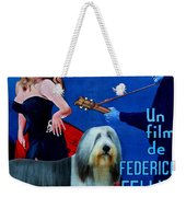 Bearded Collie Art Canvas Print - La Dolce Vita Movie Poster Weekender Tote Bag