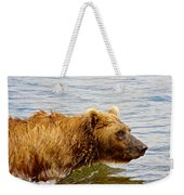 Bear's Eye View Of Swimming Grizzly In Moraine River In Katmai Weekender Tote Bag