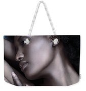 Beautiful Black Woman Face With Shiny Silver Skin Weekender Tote Bag