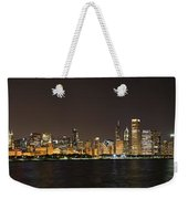 Beautiful Chicago Skyline With Fireworks Weekender Tote Bag by Adam Romanowicz
