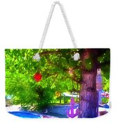 Beautiful Colored Glass Ball Hanging On Tree 1 Weekender Tote Bag