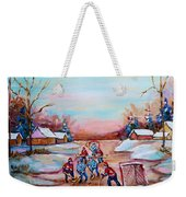 Beautiful Day For Pond Hockey Winter Landscape Painting  Weekender Tote Bag