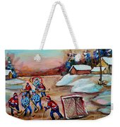 Beautiful Day-pond Hockey-hockey Game-canadian Landscape-winter Scenes-carole Spandau Weekender Tote Bag