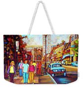 Beautiful  Downtown City Stroll  Cafe Paintings Montreal Restaurants On Crescent Street C Spandau Weekender Tote Bag