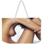 Beautiful Nude Woman Sitting On Bed With Arms Around Her Knees Weekender Tote Bag