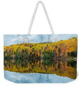 Beautiful Reflections Of A Autumn Forest In A Lake Weekender Tote Bag