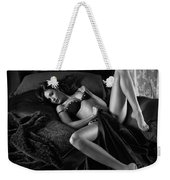 Beautiful Sexy Woman In Lingerie Lying On Bed Black And White Weekender Tote Bag