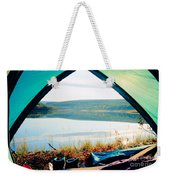 Beautiful View Of Calm Lake Looking Out Of Tent Weekender Tote Bag