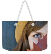Young Woman And Leaf Weekender Tote Bag