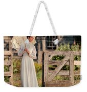 Beautiful Woman In White Dress With Parasol Weekender Tote Bag