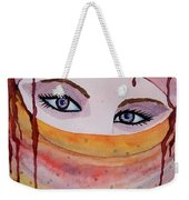Beautiful Woman With Niqab Watercolor Painting Weekender Tote Bag