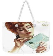 Beautiful Young Woman Holding Love Letter Vintage Vector Weekender Tote Bag