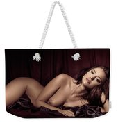 Beautiful Young Woman Lying Naked In Bed Weekender Tote Bag