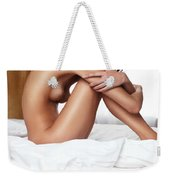Beautiful Young Woman Sitting Naked On A Bed Weekender Tote Bag