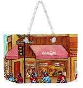Beauty's Restaurant Paintings Of Plateau Montreal Winter Scenes Hockey Art Carole Spandau  Weekender Tote Bag