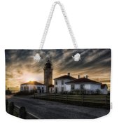Beavertail Lighthouse Sunset Weekender Tote Bag by Joan Carroll