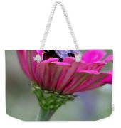 Bee In Pink Flower Weekender Tote Bag