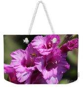 Bee In Pink Gladiolus Weekender Tote Bag