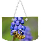 Bee On Grape Hyacinth Weekender Tote Bag