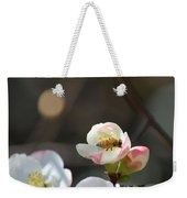 Bee On Japanese Quince Weekender Tote Bag